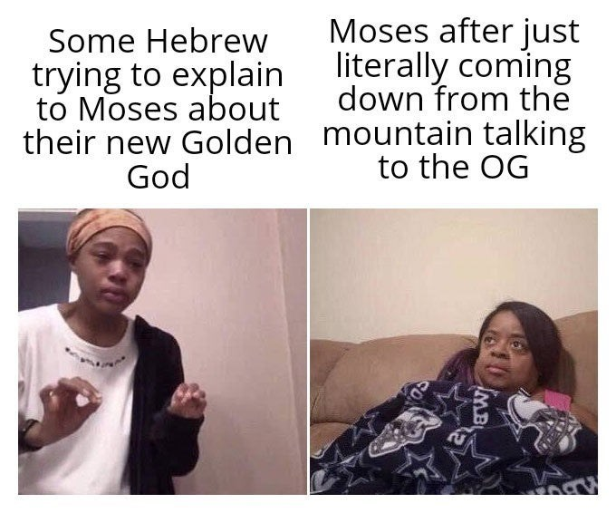 Meme - Face - Moses after just literally coming down from the Some Hebrew trying to explain to Moses about their new Golden mountain talking to the OG God 0