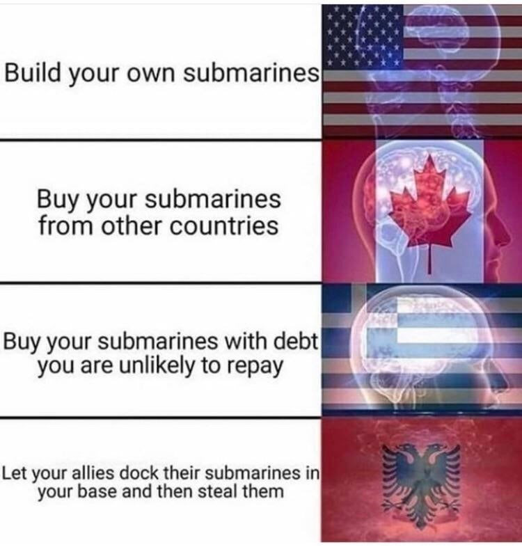 Meme - Line - Build your own submarines Buy your submarines from other countries Buy your submarines with debt| you are unlikely to repay Let your allies dock their submarines in your base and then steal them