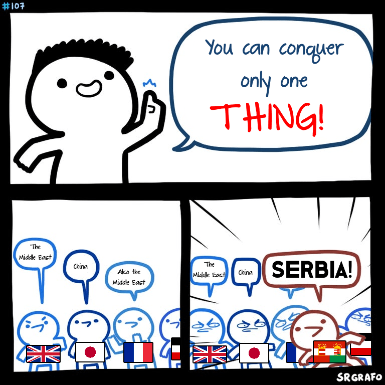 Meme - Cartoon - #107 You can conqyAer only one THING! The Middle Eact SERBIA! The China Alco the China Middle East Middle Eact SRGRAFO