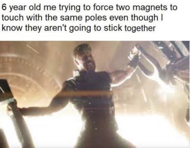 meme about playing with magnets as a kid, the avengers, thor, Chris Hemsworth.