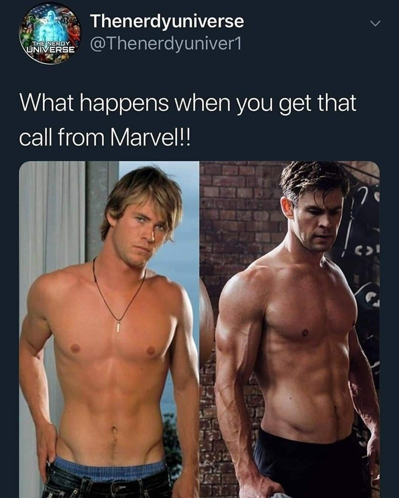 superhero physique - Barechested - Thenerdyuniverse @Thenerdyuniver1 THE NEROY UNIVERSE What happens when you get that call from Marvel!!