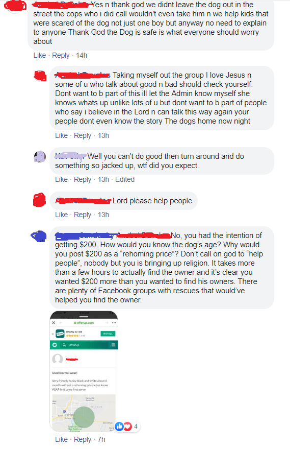 screenshot of facebook post and comments
