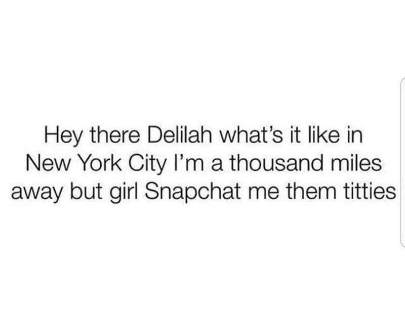 music meme - Text - Hey there Delilah what's it like in New York City l'm a thousand miles away but girl Snapchat me them titties