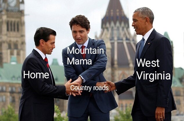 music meme - Suit - Mountain Mama West Home 'Virginia Country roads