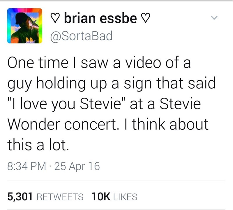 """music meme - Text - brian essbe @SortaBad One time I saw a video of a guy holding up a sign that said """"I love you Stevie"""" at a Stevie Wonder concert. I think about this a lot 8:34 PM 25 Apr 16 5,301 RETWEETS 10K LIKES"""