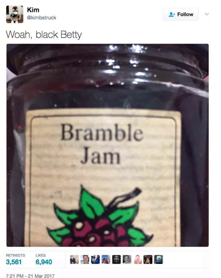 music meme - Product - Kim Follow @kimbstruck Woah, black Betty Bramble Jam RETWEETS LIKES 3,561 6,940 7:21 PM-21 Mar 2017