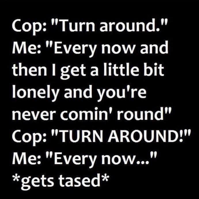 """music meme - Text - Cop: """"Turn around."""" Me: """"Every now and then I get a little bit lonely and you're never comin' round"""" Cop: """"TURN AROUND!"""" Me: """"Every now..."""" *gets tased*"""