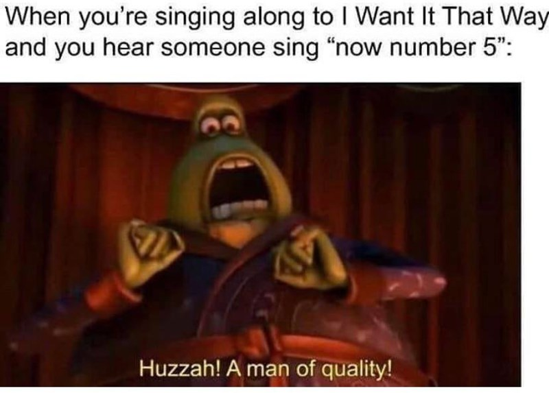 "brooklyn 99 meme - Text - When you're singing along to I Want It That Way and you hear someone sing ""now number 5"": Huzzah! A man of quality!"