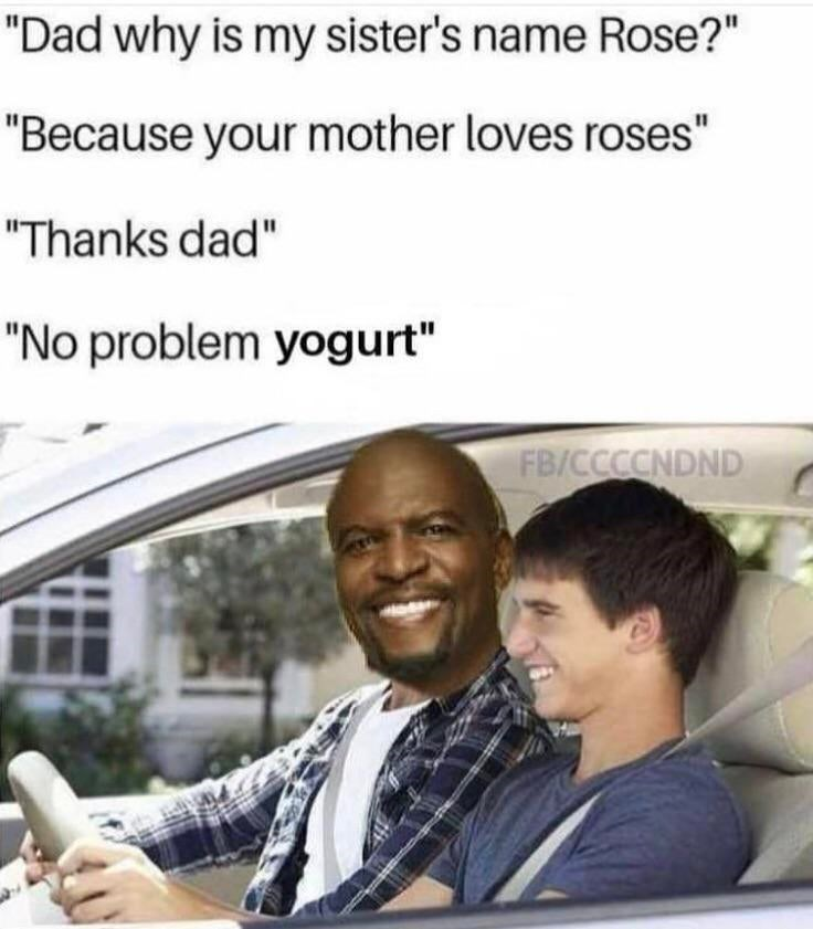 "brooklyn 99 meme - Product - ""Dad why is my sister's name Rose?"" ""Because your mother loves roses"" ""Thanks dad"" ""No problem yogurt"" FB/CCCCNDND"