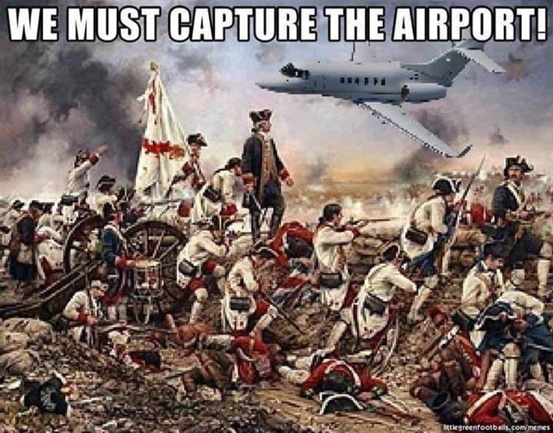 a painting of soldiers in the revolutionary war with a plane photoshopped into the picture