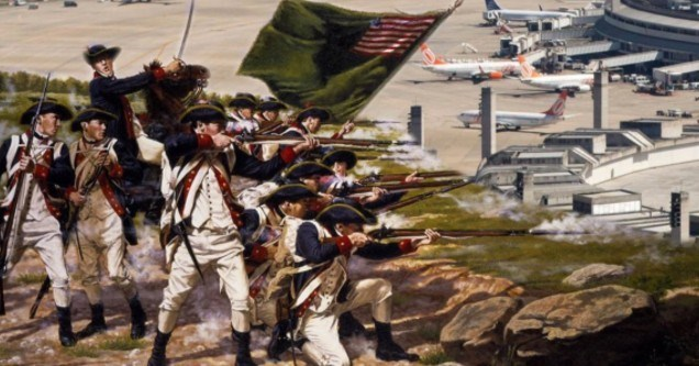 american soldiers from the 1770's in red, blue and white uniforms shooting at a modern day airport