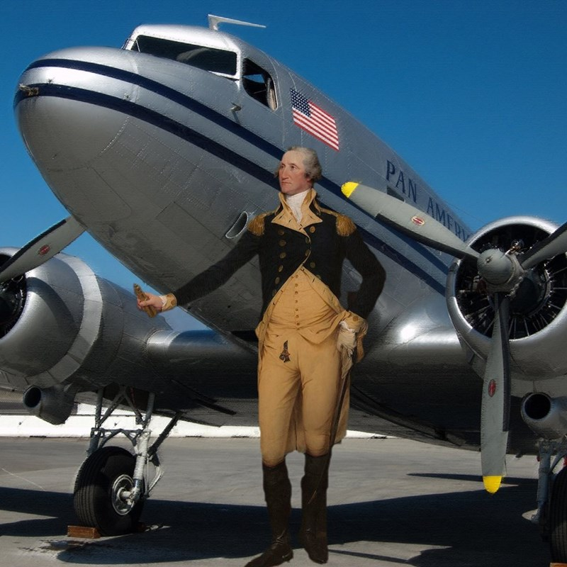 george washington in old fashioned clothes photoshopped standing next to a plane