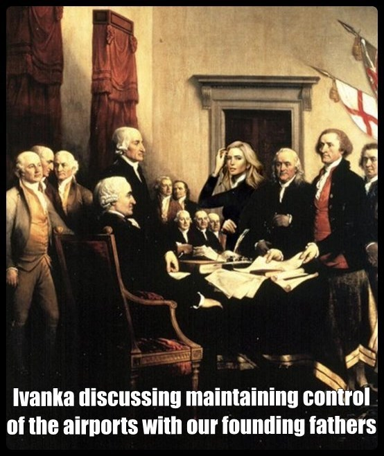 an old painting depicting a room full of the founding fathers of america in the 1770s with ivanka trump photoshopped in the room
