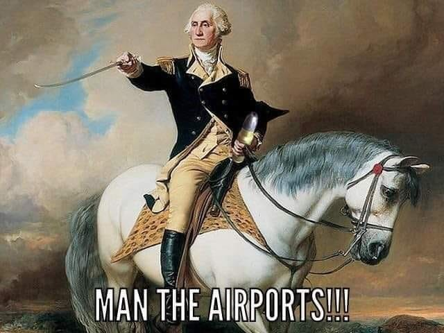george washington sitting on a white horse pointing his sword