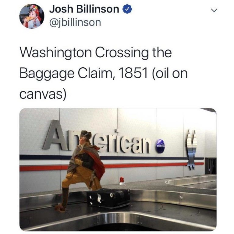 george washington photoshopped onto a picture of a baggage carousel in an airport
