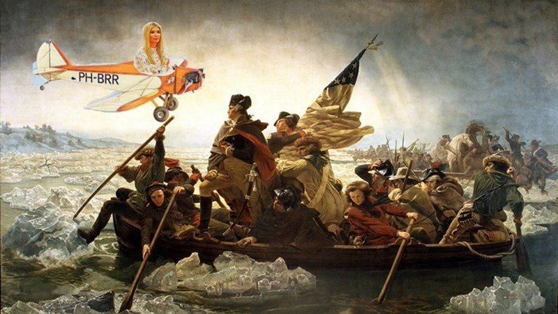 painting 'washington crosses the delware' with ivanka trump on an airplane photoshopped into the picture