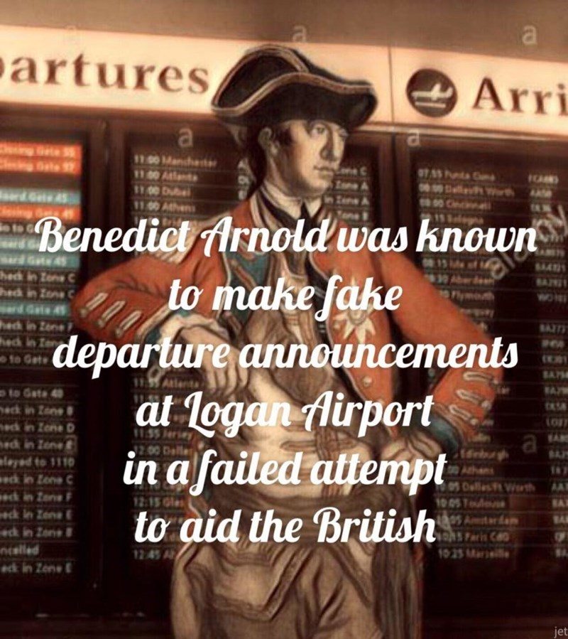 a soldier from the 1700's standing in front of an airport departures board