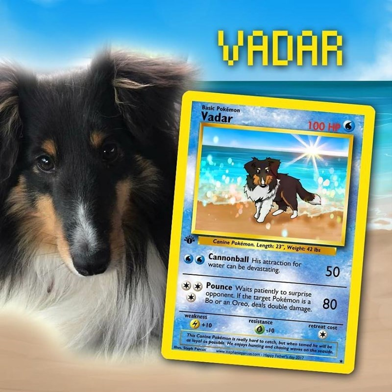 "pokemon card - Dog - WADAR Basic Pokémon Vadar 100 HP Canine Pokémon. Length: 23"", Weight: 42 lbs Cannonball His attraction for water can be devastating. 50 Pounce Waits patiently to surprise opponent. If the target Pokémon is a Bo or an Oreo, deals double damage 80 resistance の10 weakness retreat cost +10 This Canine Pokémon is really hard to catch, but when tamed he will be as loyal as possible. He enjoys hunting and chasing waves on the seaside. Mlus. Steph Parcus www.stephanieparcus.com-Happ"