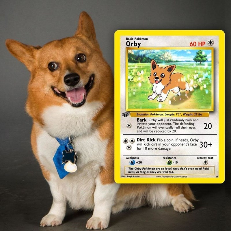 "pokemon card - Dog - Basic Pokémon Orby 60 HP Evolution Pokémon. Length: I'2"", Weight: 27 lbs Bark Orby willl just randomly bark and irritate your opponent. The defending Pokémon will eventually roll their eyes and will be reduced by 20. 20 Dirt Kick Flip a coin. if heads, Orby will kick dirt in your opponent's face 30+ for 10 more damage weakness resistance retreat cost -10 +20 The Orby Pokémon are so loyal, they don't even need Poké balls, as long as they are well fed. Illus. Steph Parcus www."
