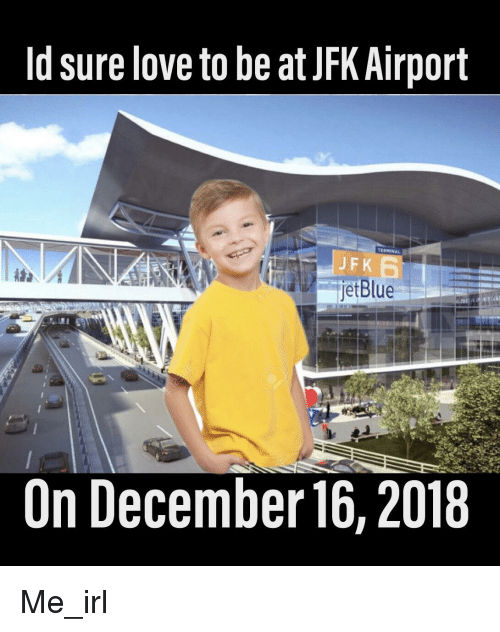 young boy in yellow shirt smiling in front of jfk airport