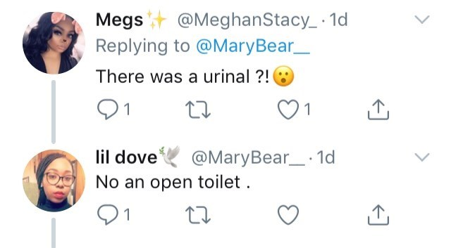 gender neutral restroom - Face - Megs@MeghanStacy_ 1 Replying to @MaryBear There was a urinal?! @MaryBear_ 1d lil dove No an open toilet