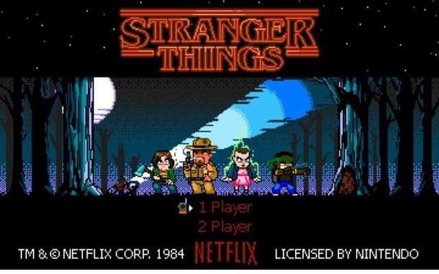 Action-adventure game - STRANGER THIINGS 1 Player 2 Player NETFLIX TM &ONETFLIX CORP. 1984 LICENSED BY NINTENDO