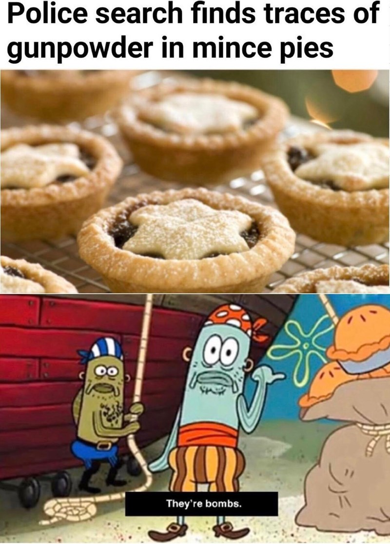 meme - Food - Police search finds traces of gunpowder in mince pies They're bombs. 803