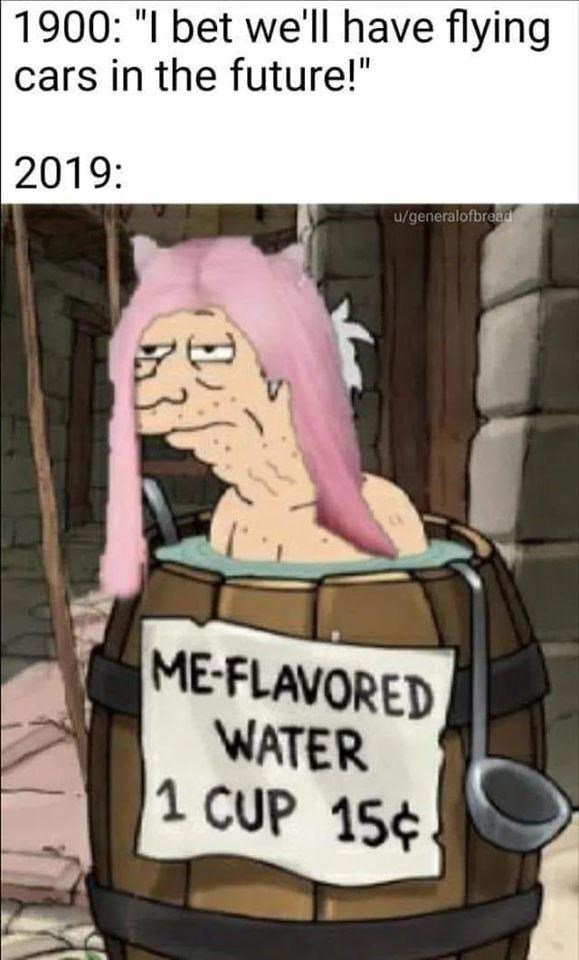 """belle delphine gamergirl bath water - Cartoon - 1900: """"I bet we'll have flying cars in the future!"""" 2019: u/generalofbread ME-FLAVORED WATER 1 CUP 15"""