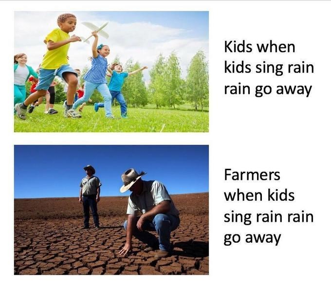 People in nature - Kids when kids sing rain rain go away Farmers when kids sing rain rain go away