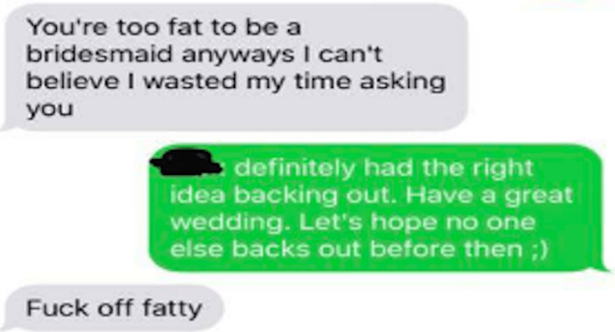bridezilla - Text - You're too fat to be a bridesmaid anyways I can't believe I wasted my time asking you definitely had the right idea backing out. Have a great wedding. Let's hope no one else backs out before then ;) Fuck off fatty