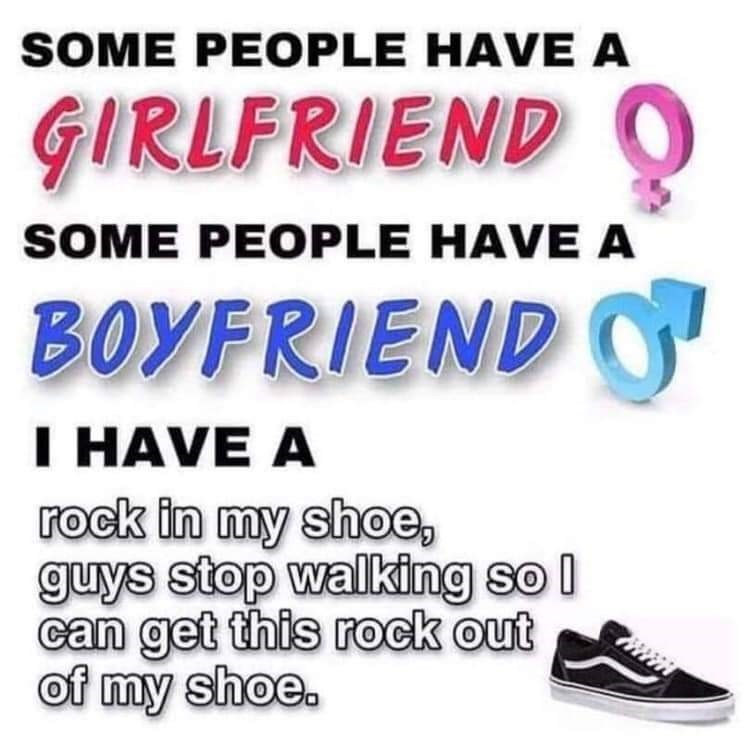 Meme - Text - SOME PEOPLE HAVE A GIRLFRIEND O SOME PEOPLE HAVE A BOYFRIENDO I HAVE A rock in my shoe guys stop walking so I can get this rock out of my shoe.