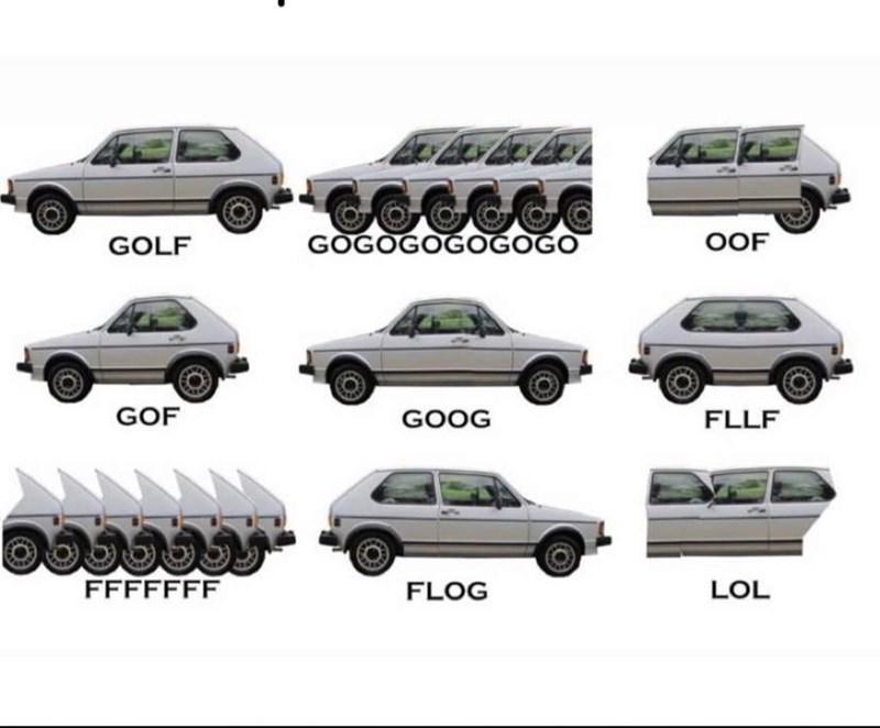 Meme - Land vehicle - GOGOGOGOGOGO OOF GOLF GOF GOOG FLLF FFFFFFF LOL FLOG