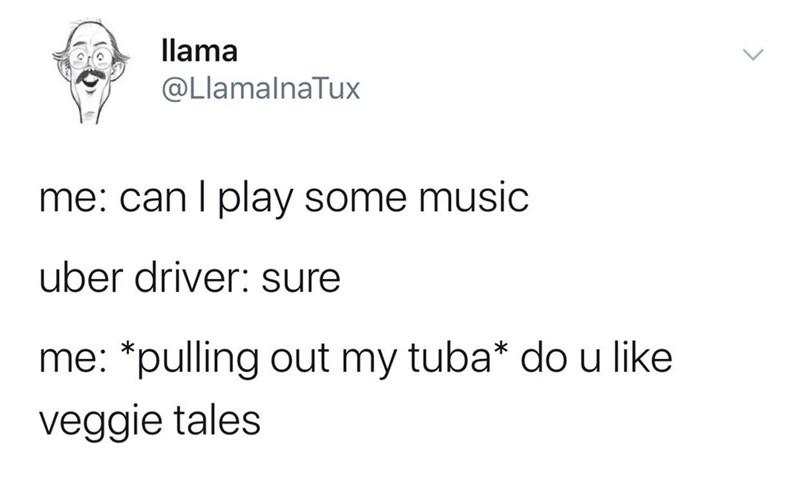 Meme - Text - llama @LlamalnaTux me: can I play some music uber driver: sure me: *pulling out my tuba* do u like veggie tales
