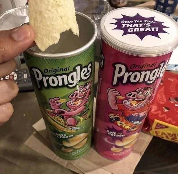 Junk food - Once You Pop.. THAT'S GREAT! Original Prongle Pron Original EAM am