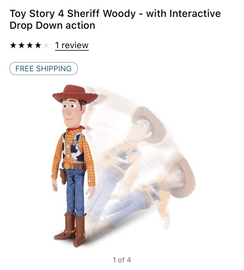 meme - Cartoon - Toy Story 4 Sheriff Woody - with Interactive Drop Down action 1 review FREE SHIPPING 1 of 4