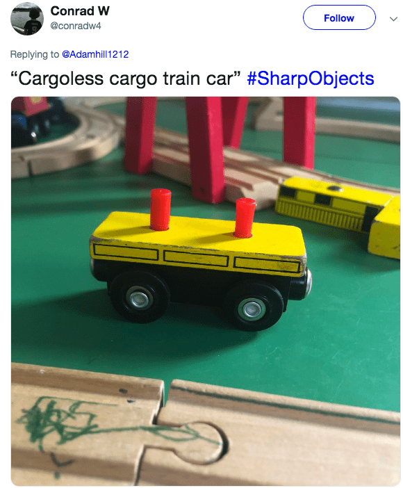 "stepping on toys - Model car - Conrad W Follow @conradw4 Replying to @Adamhill 1212 ""Cargoless cargo train car"" #SharpObjects"