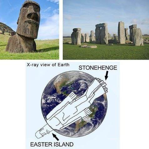 Meme - Landmark - X-ray view of Earth STONEHENGE EASTER ISLAND