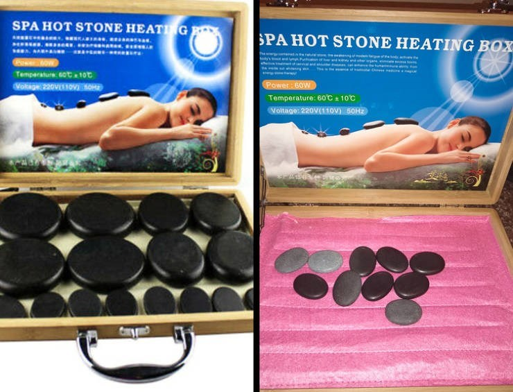 false advertisement - Arm - SPA HOT STONE HEATING SPA HOT STONE HEATING BOX g e c Temparature 6Ot 10t Vokage 220VOOE Power: 60W Temperature: 60'C 100 Voltage: 220V11OV) 50H2
