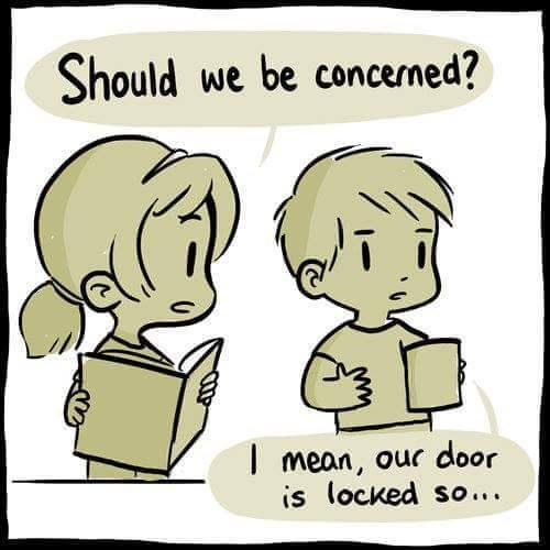 Cartoon - Should we be concerned? Imean, our door is locked so...
