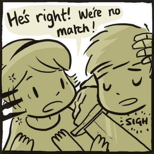 Cartoon - He's right! Were no match! SIGH