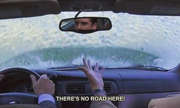 michael driving car there's no road here the office memes
