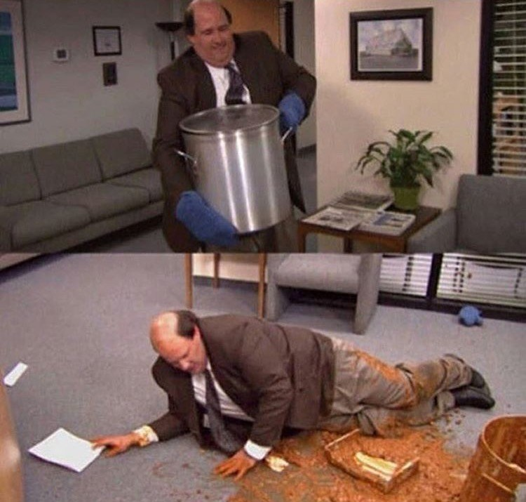 kevin spilled food the office memes