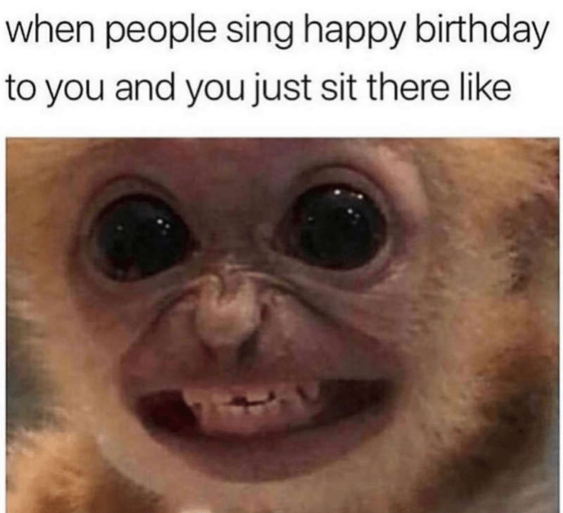 birthday meme - Face - when people sing happy birthday to you and you just sit there like