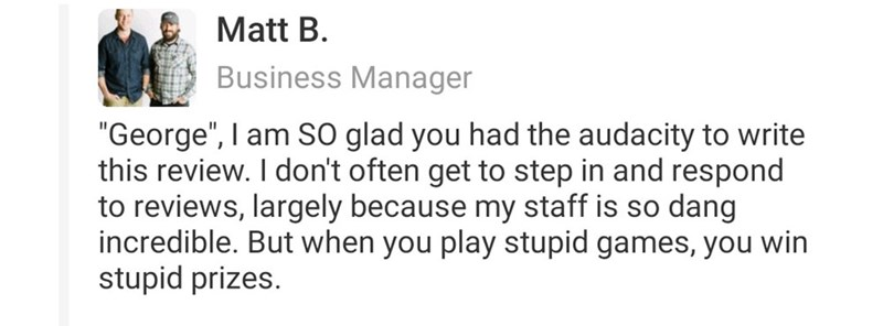 Text - Manager of the facility replies to Yelp review, calling the reviewer out for lying