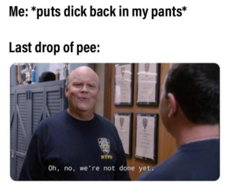 """Meme - """"Me: *puts dick back in my pants* Last drop of pee: NYPD Oh, no, we're not done yet."""""""
