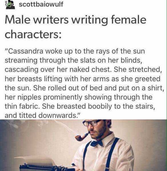 """Meme - Text - scottbaiowulf Male writers writing female characters: """"Cassandra woke up to the rays of the sun streaming through the slats on her blinds, cascading over her naked chest. She stretched, her breasts lifting with her arms as she greeted the sun. She rolled out of bed and put on a shirt, her nipples prominently showing through the thin fabric. She breasted boobily to the stairs, and titted downwards."""""""