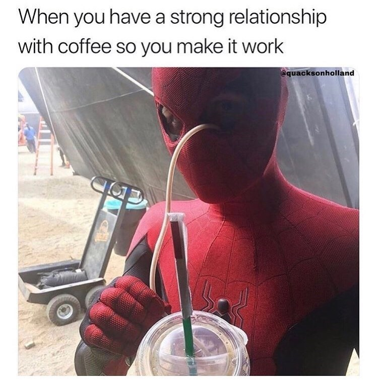Meme about coffee featuing spider-man costume.