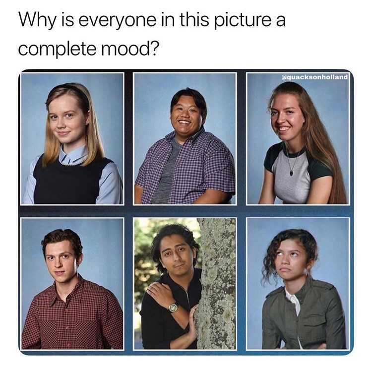 marvel meme - Facial expression - Why is everyone in this picture a complete mood? @quacksonholland