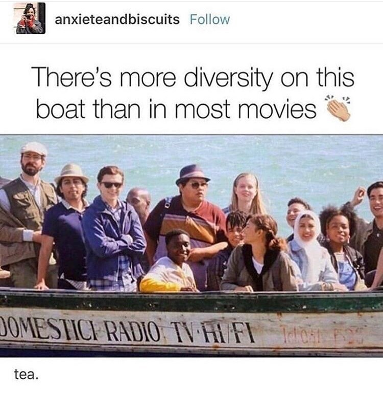 marvel meme - Team - anxieteandbiscuits Follow There's more diversity on this boat than in most movies DOMESTICE RADIO TV HIFIh tea