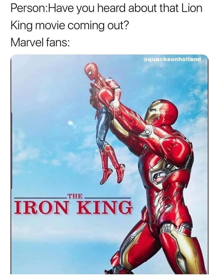 marvel meme - Superhero - Person:Have you heard about that Lion King movie coming out? Marvel fans: @quacksonholland THE IRON KING